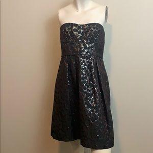 BCBGMAXAZRIA Strapless dress size 4 black print